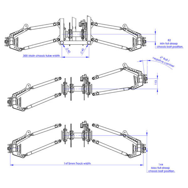 Rear Suspension rear view drawing